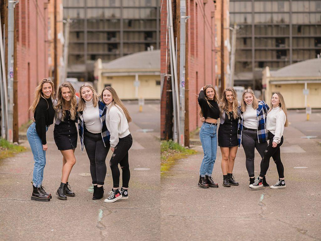 Senior girls walking around the city.