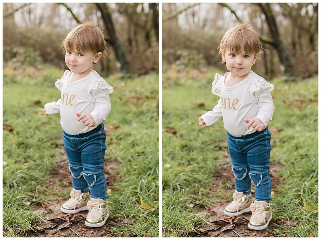 One year old girl photoshoot in the woods