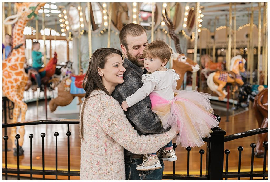 Family at one year old birthday party at Carousel Museum in Albany Oregon